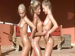 Morning exercises with three naked model