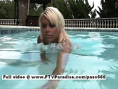 Kori superb blonde babe in a pool outside