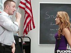Schoolgirl caught smoking weed fucks teacher